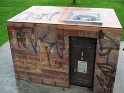 graffiti removal public bbq before
