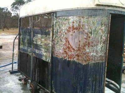 Horse Float Dustless Blasting Before - Trailer Restorations