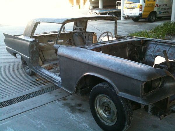 sydney soda blasting ford thunderbird car after