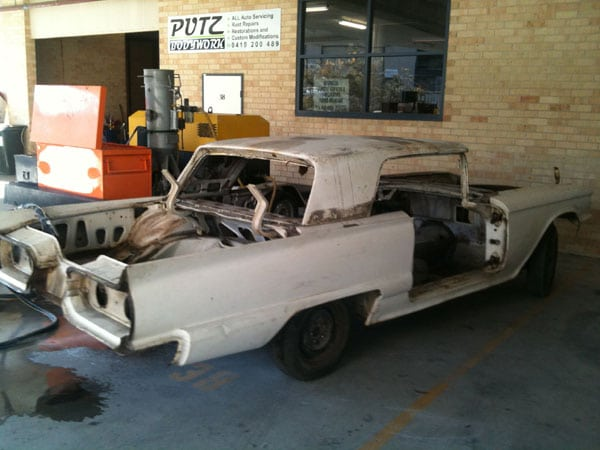sydney soda blasting ford thunderbird car before